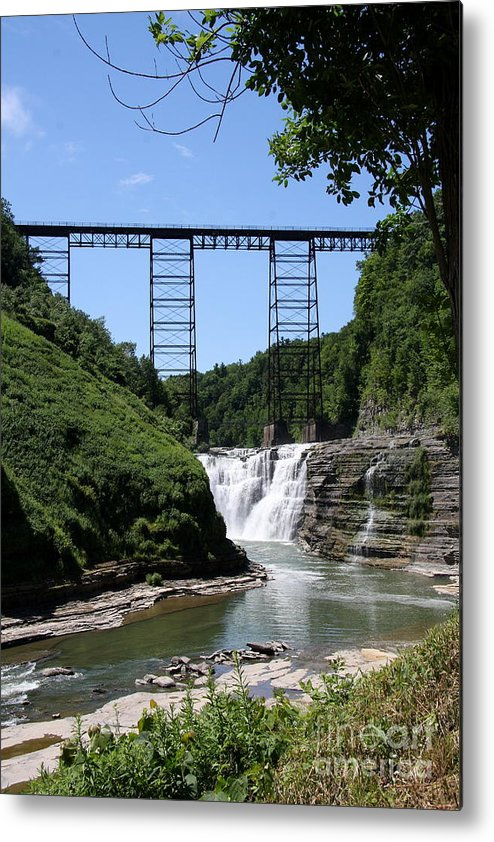 Upper Falls Of The Genesee River Metal Print featuring the photograph Upper Falls Of The Genesee River by Christiane Schulze Art And Photography
