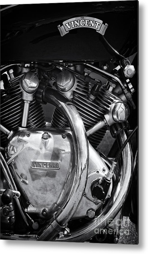 Hrd Vincent Metal Print featuring the photograph Vincent Series C Black Shadow Engine by Tim Gainey