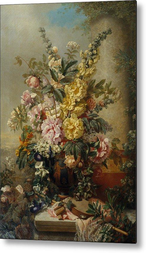 Large Vase Metal Print featuring the painting Vintage Large Vase With Flowers C. Mid 1880s & Vintage Large Vase With Flowers C. Mid 1880s Metal Print by Sheila ...