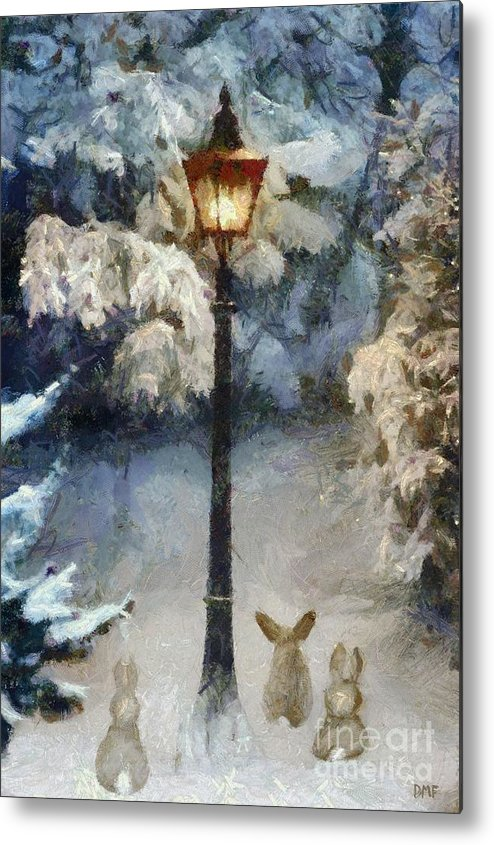 Winter Metal Print featuring the painting Waiting For Santa 2 by Dragica Micki Fortuna