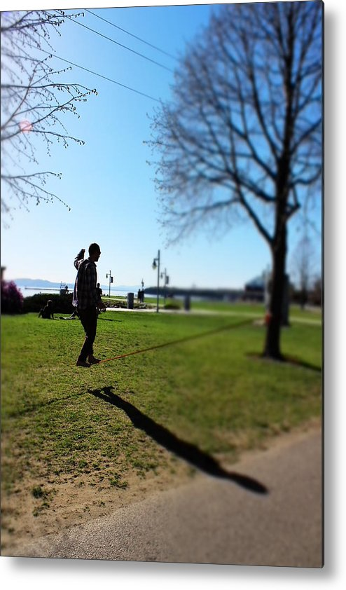 Tightrope Metal Print featuring the photograph Walking A Thin Line by Bancrofts Finest Photography