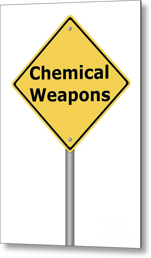Sign Metal Print featuring the digital art Warning Sign Chemical Weapons by Henrik Lehnerer