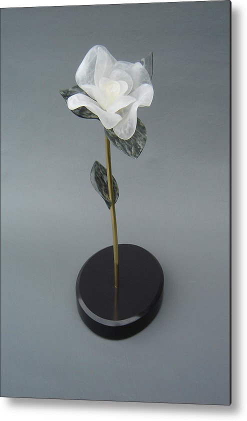 Flower Metal Print featuring the sculpture White Rose by Leslie Dycke