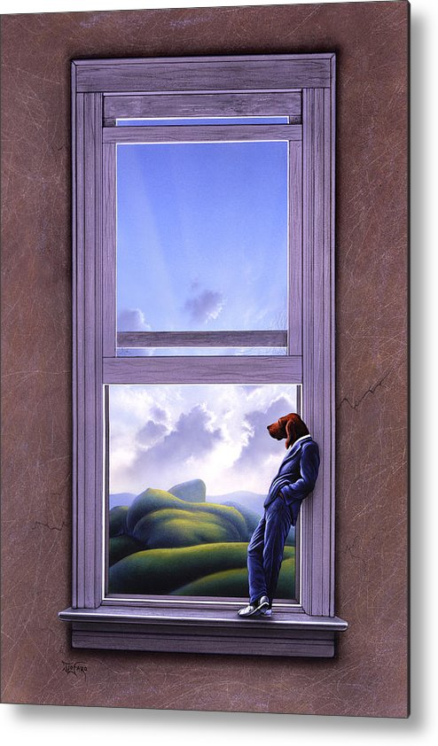 Surreal Metal Print featuring the painting Window Of Dreams by Jerry LoFaro
