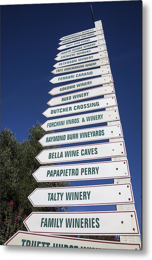 Wine Metal Print featuring the photograph Wine Country Signs by Garry Gay