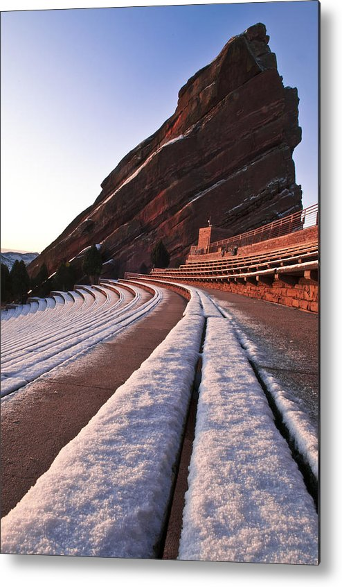All Rights Reserved Metal Print featuring the photograph Winter Snow At Red Rocks Amphitheater by Mike Berenson
