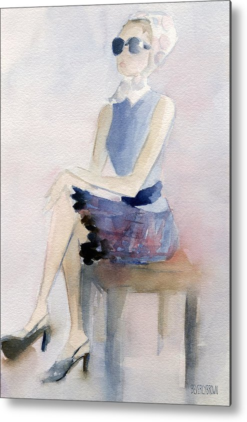 Fashion Metal Print featuring the painting Woman In Plaid Skirt And Big Sunglasses Fashion Illustration Art Print by Beverly Brown
