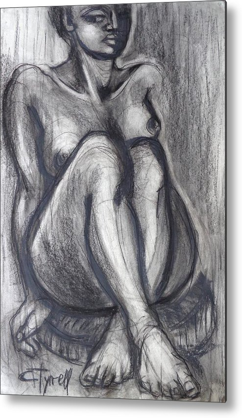 Black Metal Print featuring the painting Woman Sitting On Round Chair - Female Nude by Carmen Tyrrell
