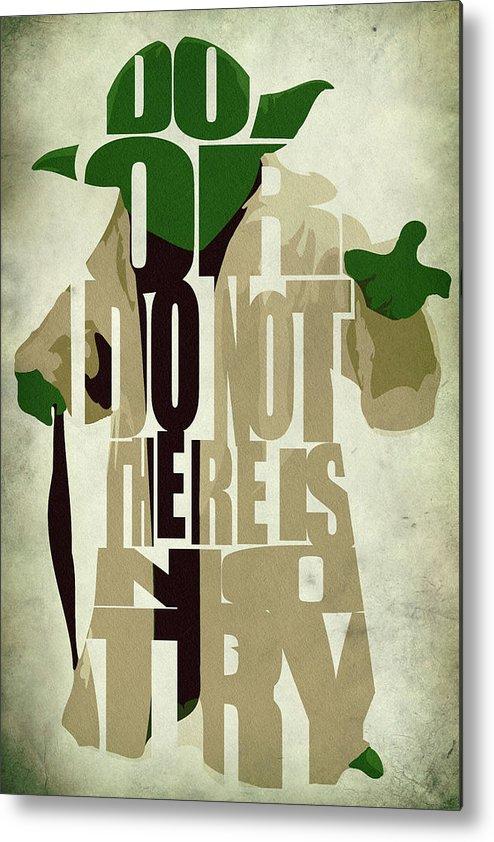 Yoda Metal Print featuring the digital art Yoda - Star Wars by Inspirowl Design