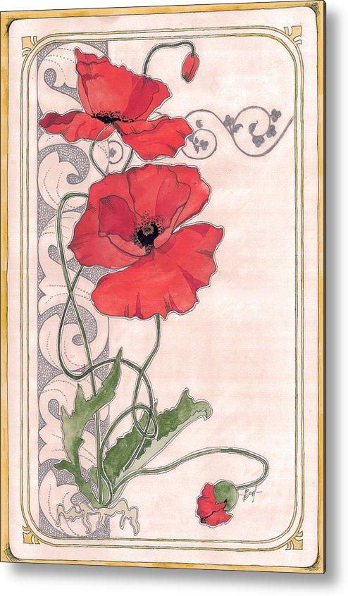 Poppy Metal Print featuring the painting Poppy by Viki Vehnovsky