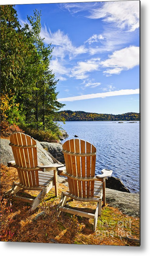 Chairs Metal Print featuring the photograph Adirondack Chairs At Lake Shore by Elena Elisseeva