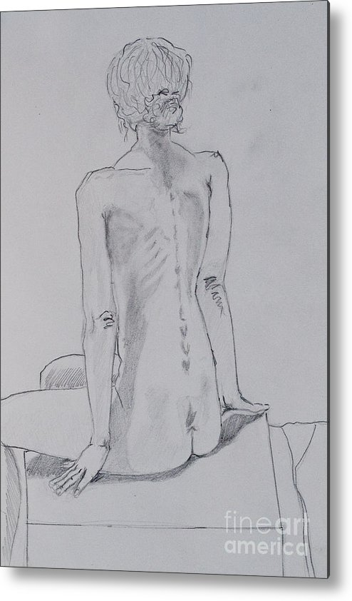 Pencil Drawing Metal Print featuring the drawing Model Drawing by Tracy Pickett