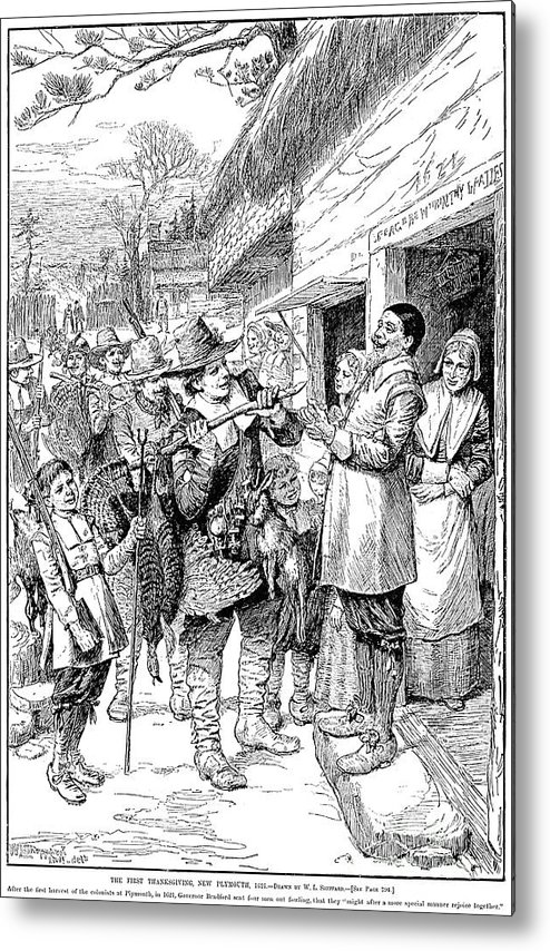 1621 Metal Print featuring the photograph Pilgrims: Thanksgiving, 1621 by Granger