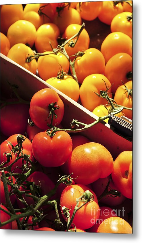 Tomato Metal Print featuring the photograph Tomatoes On The Market by Elena Elisseeva