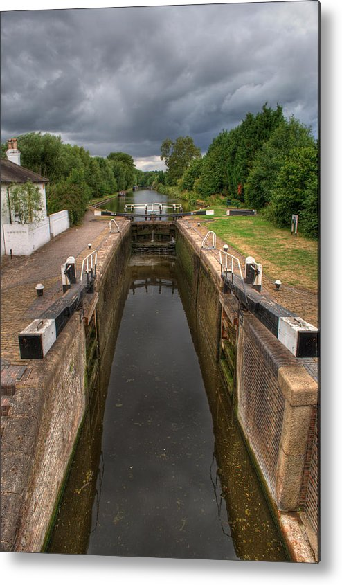 Grand Union Canal Metal Print featuring the photograph Wide Water Lock by Chris Day