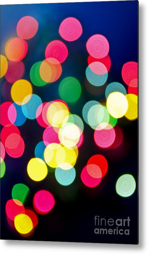 Blurred Metal Print featuring the photograph Blurred Christmas Lights by Elena Elisseeva