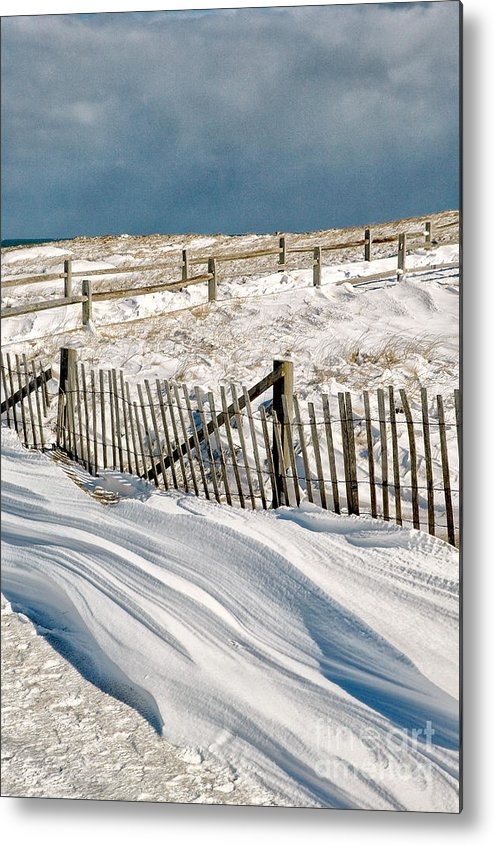Winter Metal Print featuring the photograph Drifting Snow Along The Beach Fences At Nauset Beach In Orleans by Matt Suess