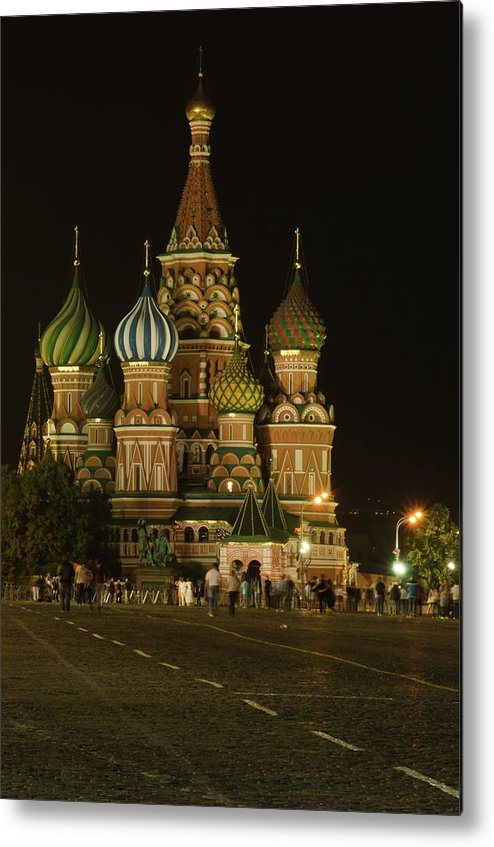 Kremlin Metal Print featuring the photograph Red Square In Moscow At Night by Michael Goyberg