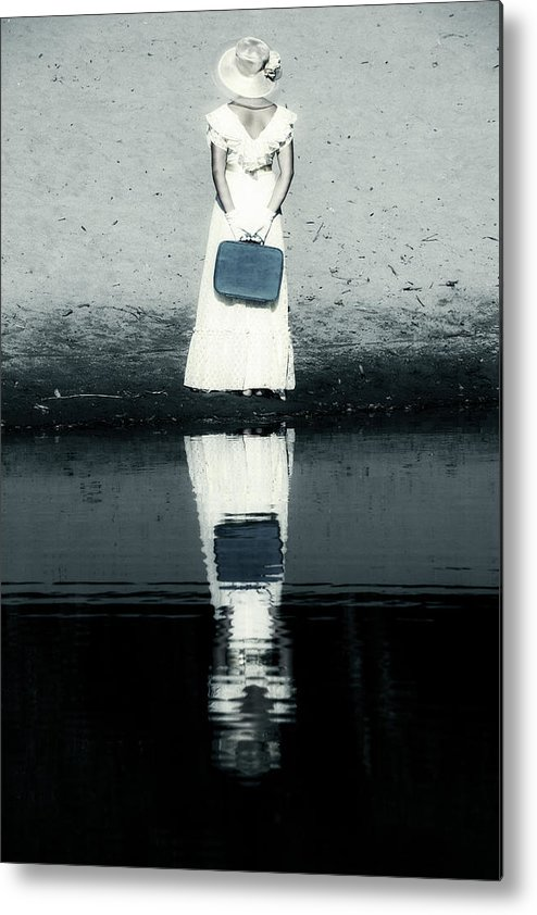 Woman Metal Print featuring the photograph Woman With Suitcase by Joana Kruse