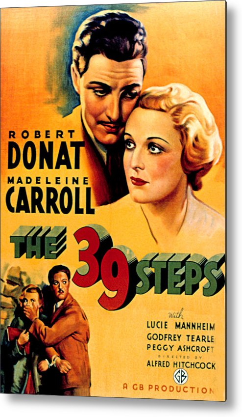 1930s Movies Metal Print featuring the photograph 39 Steps, The, Robert Donat, Madeleine by Everett