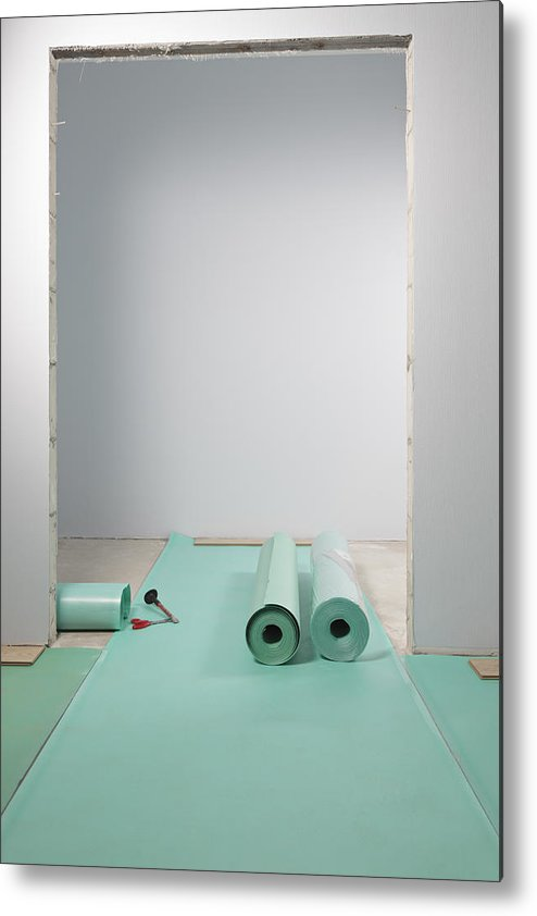 Nobody Metal Print featuring the photograph Laying A Floor. Rolls Of Underlay Or by Magomed Magomedagaev