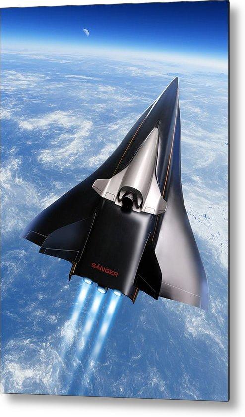 Aerodynamics Metal Print featuring the photograph Saenger Horus Spaceplane, Artwork by Detlev Van Ravenswaay