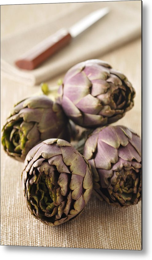 Vertical Metal Print featuring the photograph Artichokes by Jean-Christophe Riou