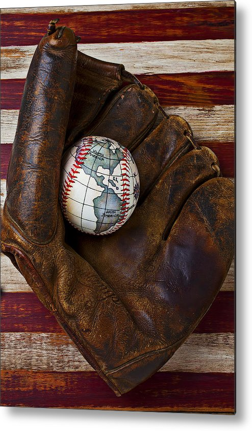Folk Art American Flag Metal Print featuring the photograph Baseball Mitt With Earth Baseball by Garry Gay