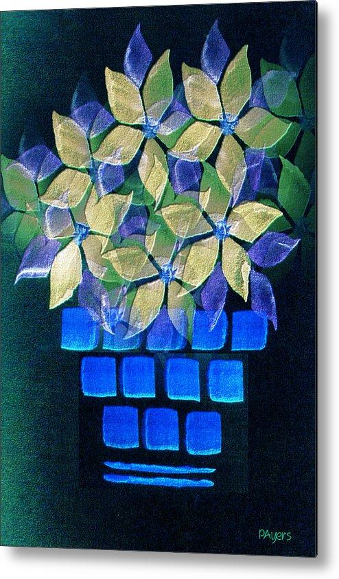 Paula Ayers Metal Print featuring the mixed media Blue Flower Pot by Paula Ayers