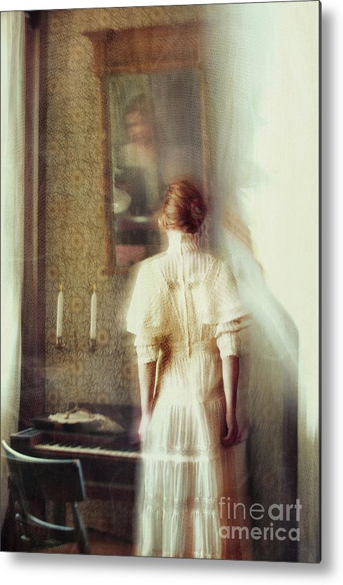 Atmosphere Metal Print featuring the photograph Blurry Image Of A Woman In Vintage Dress by Sandra Cunningham