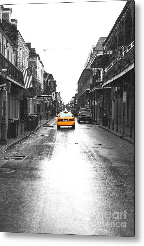 Travelpixpro metal print featuring the photograph bourbon street taxi french quarter new orleans color splash black