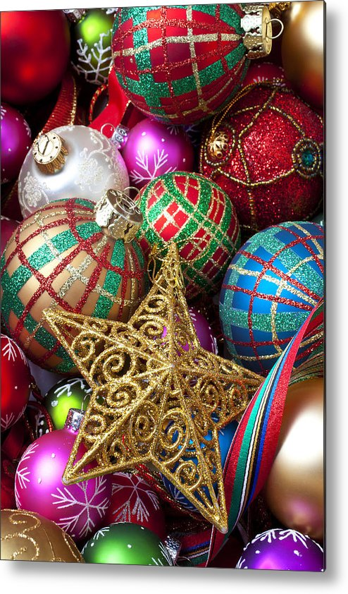 Colorful Ornaments Metal Print featuring the photograph Box Of Christmas Ornaments With Star by Garry Gay