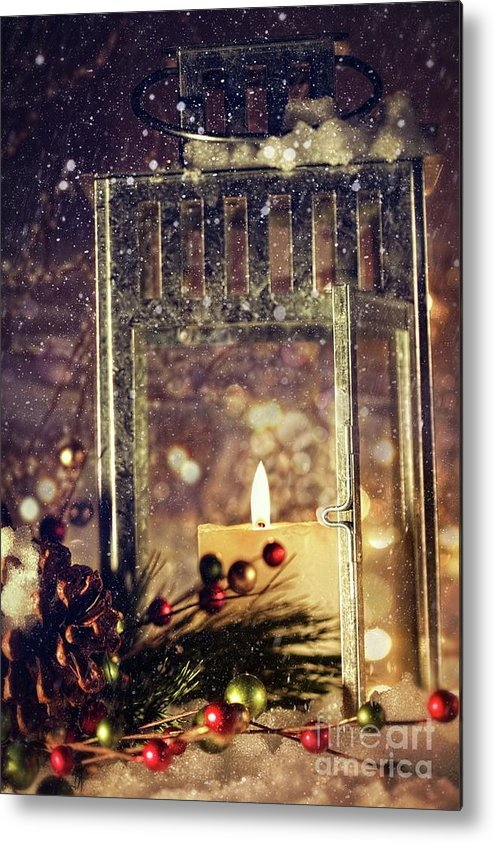Background; Burn; Candle; Christmas; Cold; Color; Decoration; Evening; Fire; Glass; Holiday; Ice; Lamp; Lantern; Light; New; Night; Red; Season; Snow; Warm; Winter; Xmas; Year; Yellow; Santa; Claus; Snowy; Metal Print featuring the photograph Brightly Lit Lantern In The Snow by Sandra Cunningham