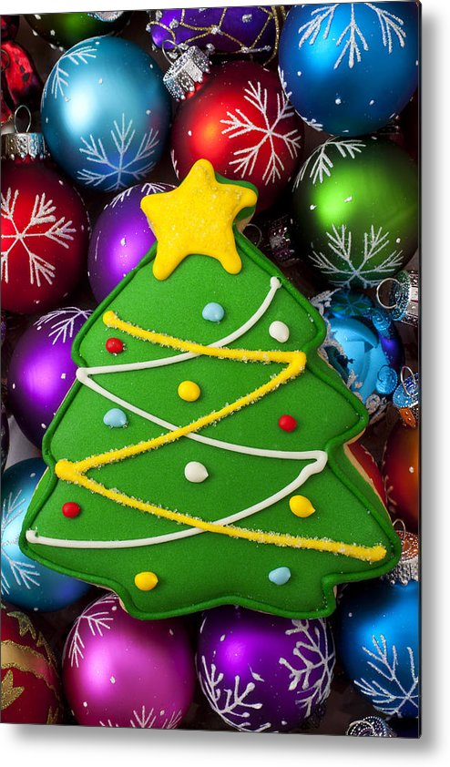 Colorful Ornaments Metal Print featuring the photograph Christmas Tree Cookie With Ornaments by Garry Gay
