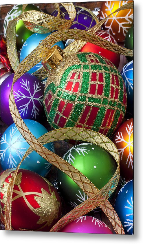 Colorful Ornaments Metal Print featuring the photograph Colorful Ornaments With Ribbon by Garry Gay