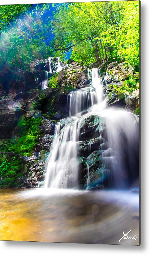 Landscape Metal Print featuring the pyrography Colorful Stream by Shane York