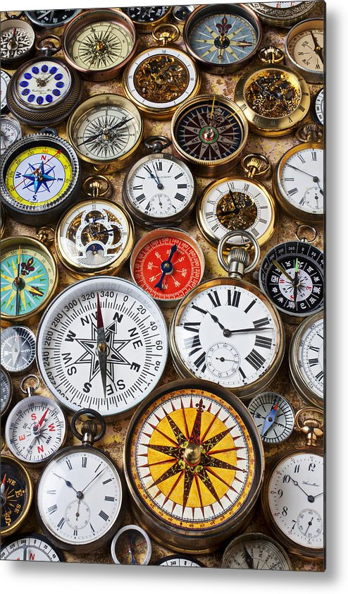 Watch Metal Print featuring the photograph Compases And Pocket Watches by Garry Gay