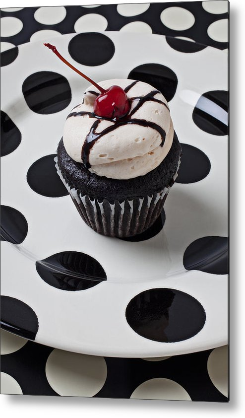 Cupcake Metal Print featuring the photograph Cupcake With Cherry by Garry Gay
