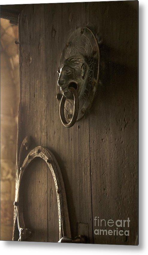 Art Roman Metal Print featuring the photograph Door Knocker Of The Basilica Saint-julien. Brioude. Haute Loire. Auvergne. France. by Bernard Jaubert