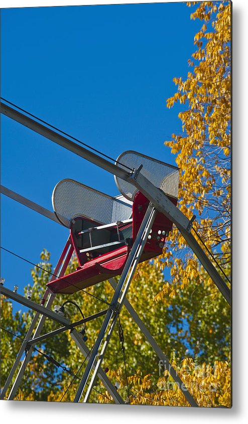 Amusement Metal Print featuring the photograph Empty Chair On Ferris Wheel by Thom Gourley/Flatbread Images, LLC