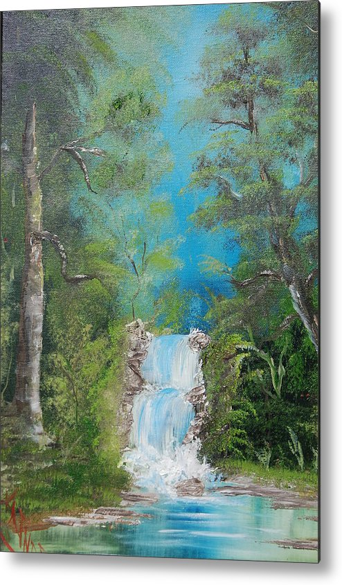 Waterfalls Metal Print featuring the painting Falling With Grace by Katheryn Napier