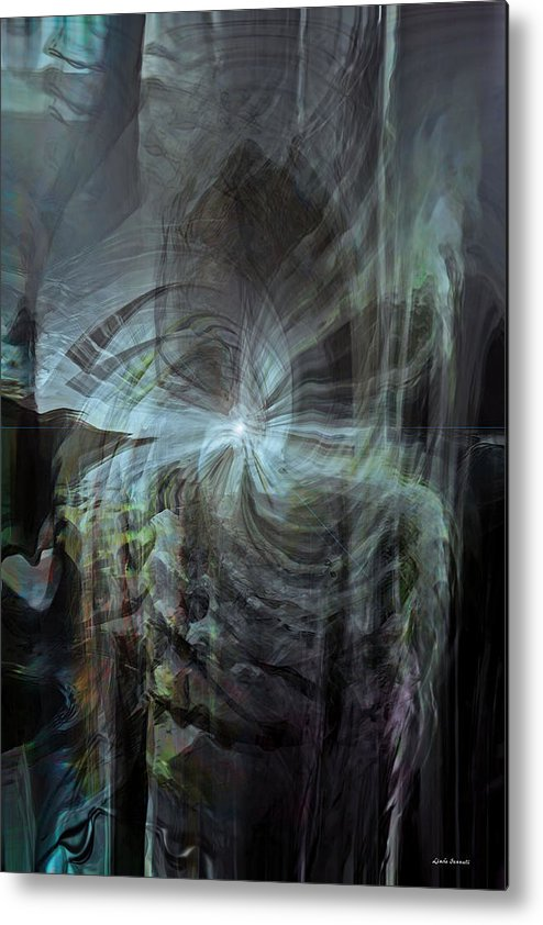 Abstract Metal Print featuring the digital art Fear Of The Unknown by Linda Sannuti
