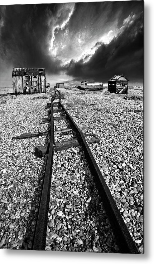Black And White Metal Print featuring the photograph Fishing Boat Graveyard 6 by Meirion Matthias