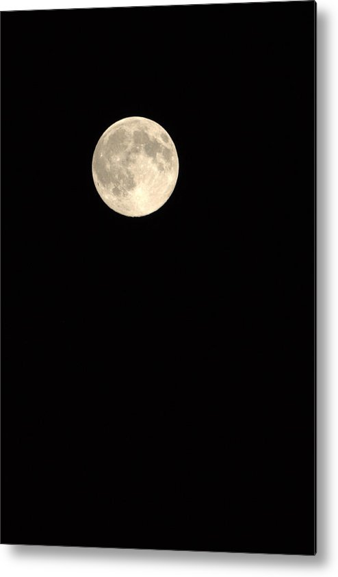Black Background Full Moon Sky Dark And Light Metal Print featuring the photograph Full Moon by Becky Arvin