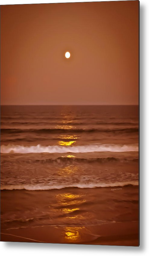 Ocean Metal Print featuring the photograph Golden Pathway To The Shore by DigiArt Diaries by Vicky B Fuller