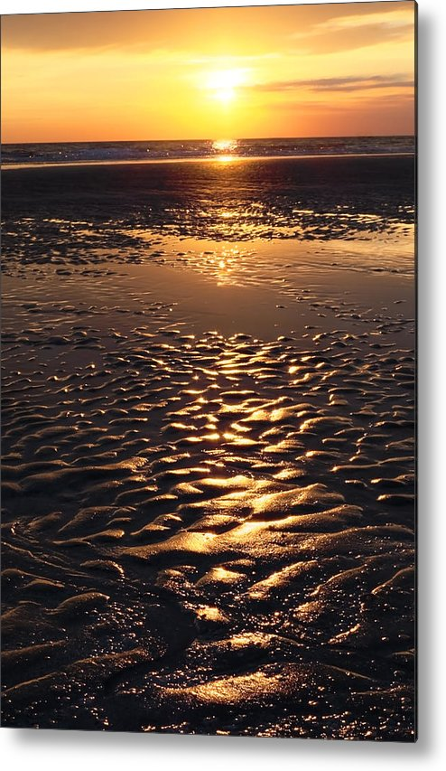 Abstract Metal Print featuring the photograph Golden Sunset On The Sand Beach by Setsiri Silapasuwanchai