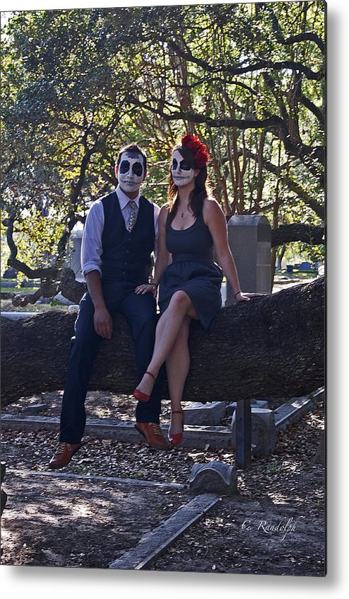 Man And Woman Metal Print featuring the photograph Halloween Romance by Cheri Randolph