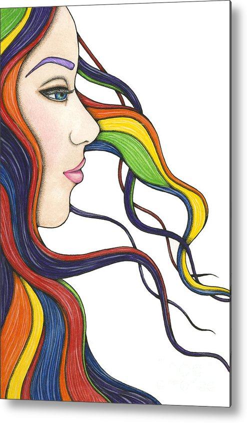 Portrait Metal Print featuring the painting I Am My Own Rainbow by Nora Blansett