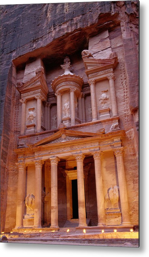 Vertical Metal Print featuring the photograph Jordan, Petra, The Treasury by Nevada Wier