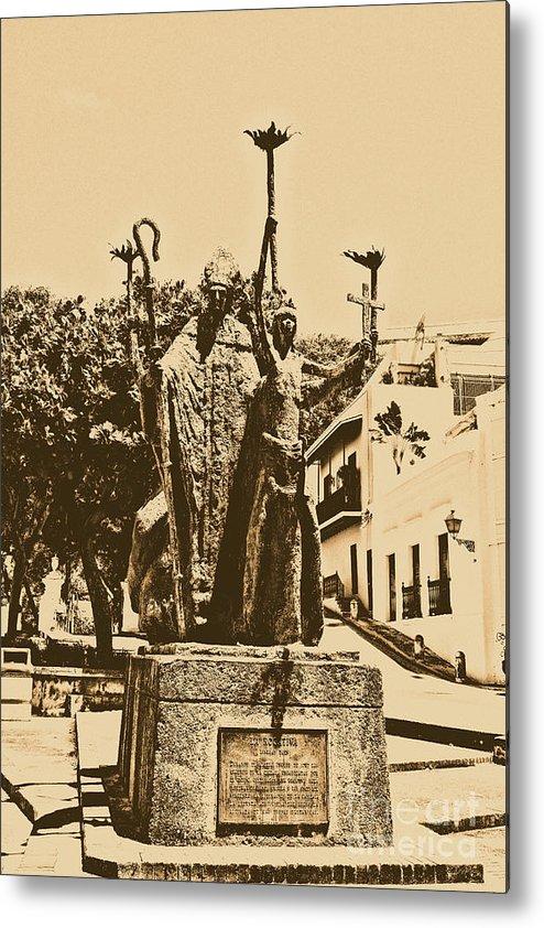 Old San Juan Metal Print featuring the digital art La Rogativa Sculpture Old San Juan Puerto Rico Rustic by Shawn O'Brien